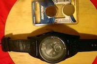 black fossil watch with leather band 71 km