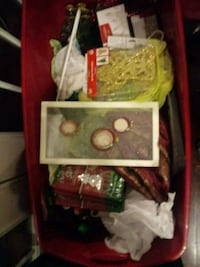 Large tote of Christmas decorations 438 mi