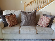 gray suede 3-seat couch