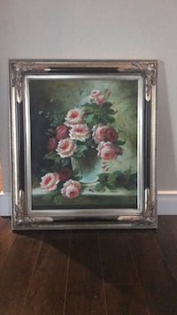 pink and white flower painting with gray wooden frame Vaughan, L6A 0E3