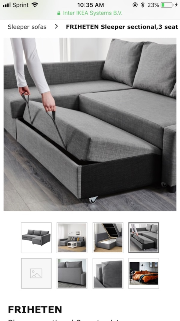 Magnificent Ikea Friheten Sleeper Sectional 3 Seat With Storage In Dark Gray Machost Co Dining Chair Design Ideas Machostcouk