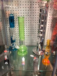 two green and clear glass water bongs Ponoka, T4J 1E4