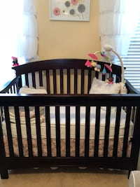 Espresso color crib selling with mattress including. Only used for few months. Pet free and smoke free home. All products are from buy buy babies.  Cary, 27513