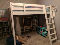white wooden loft bed