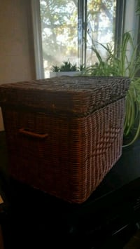 Vintage wicker file box Brick