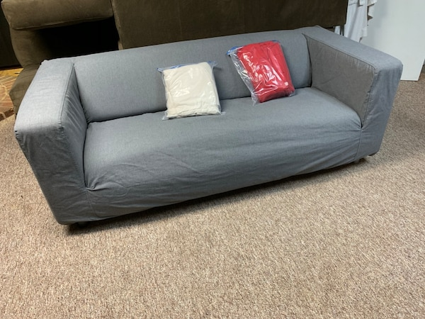 Tremendous Ikea Sofa Couch Love Seat With Gray White And Red Slip Covers Ibusinesslaw Wood Chair Design Ideas Ibusinesslaworg