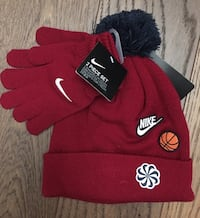 New Nike Red Basketball Kids Hat Gloves Set Chicago, 60611