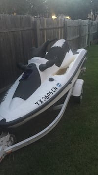 white and black personal watercraft