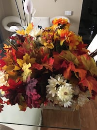 Bundles of Fall Flowers and Leaves