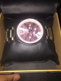 round silver chronograph watch with silver link bracelet Indianapolis, 46203