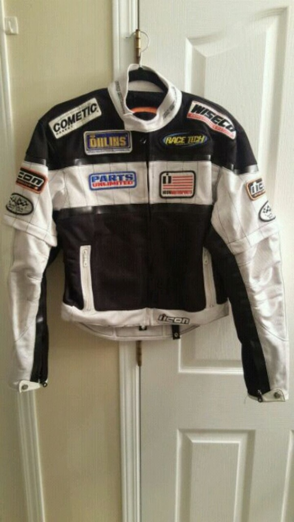 white and black motocross jacket