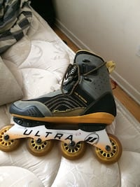 Unpaired gray and black ultra inline skate