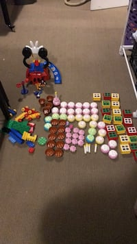 Assorted LEGO pieces Mickey Mouse club house and other stuff cupcakes flower pots Pickering, L1V 5V6