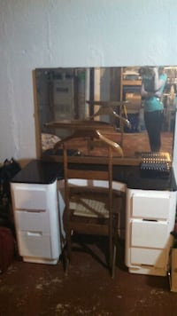 Antique vanity with mirror and chair.  Novi, 48375