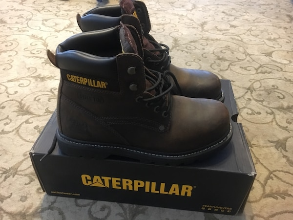 Pair Of Black Caterpillar Work Boots With Box