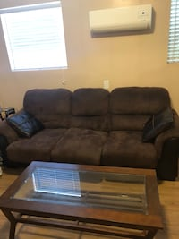 Brown suede 3-seat sofa 181 mi
