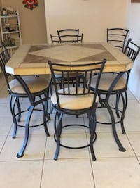 rectangular brown wooden table with four chairs dining set Mesa, 85209