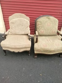 two gray and brown wooden  antique armchairs Universal City, 78148