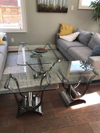 Set of 3, Coffee table and two end tables. Glass and chrome Toronto, M6S 3H8