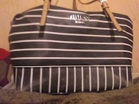 black and white striped Guess bag