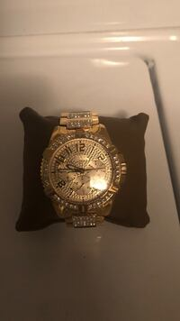 round gold-colored chronograph watch with link bracelet Fort Collins, 80526