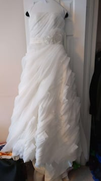 White organza wedding gown