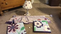 white and purple floral print table lamp ABINGDON