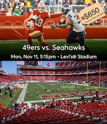 49ERS vs SEAHAWKS (2 Tix + Parking Pass)