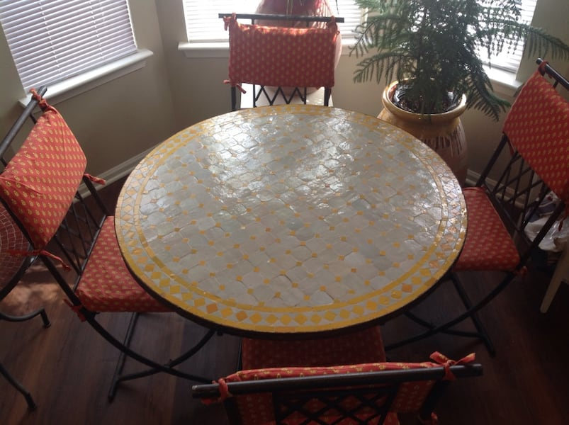 "Authentic Moroccan Mosaic Tile 30"" tall table and wrought iron chairs  41cc9439-1fc0-4442-bbdd-25593bc6947f"