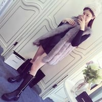 women's black long-sleeved mini dress and gray fur vest Falls Church, 22046