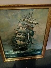 Amazing oil clipper ship painting  w/wood frame. Sussex County