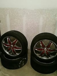 chrome-and-red 6-spokes car-wheel with tire set of