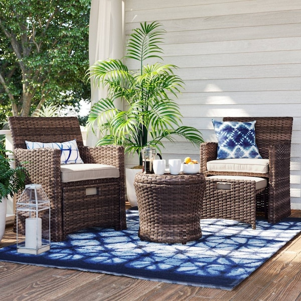 Halsted 5 Piece Wicker Small E Patio Furniture Set Threshold Includes 2