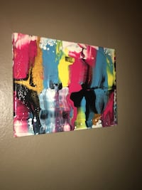 Blue, red, and yellow abstract painting on canvas  Granite City, 62040