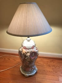 Tall shell-filled glass lamp with shade. Manassas, 20110