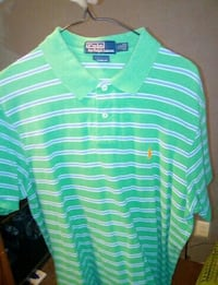 green and white striped Polo polo shirt