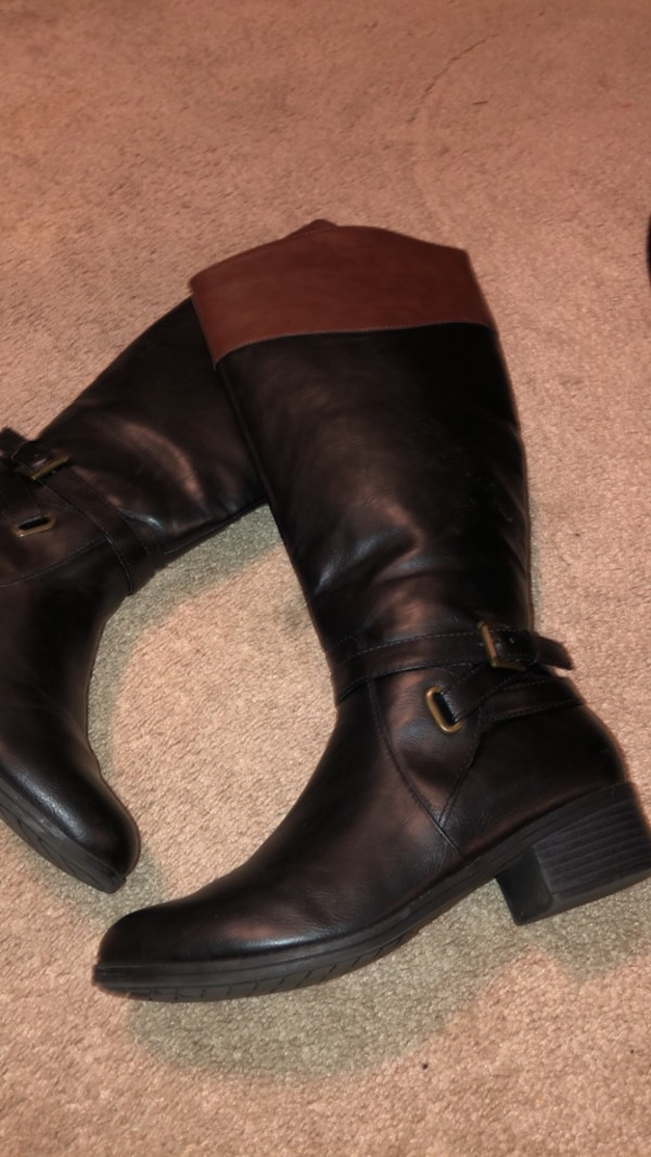 Women 2-tone wide calf boots size 8.5 2