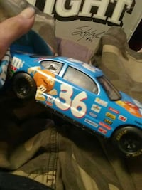 blue and white sports car scale model figure Jackson, 30233