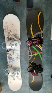 white and pink snowboard with bindings Manassas, 20112