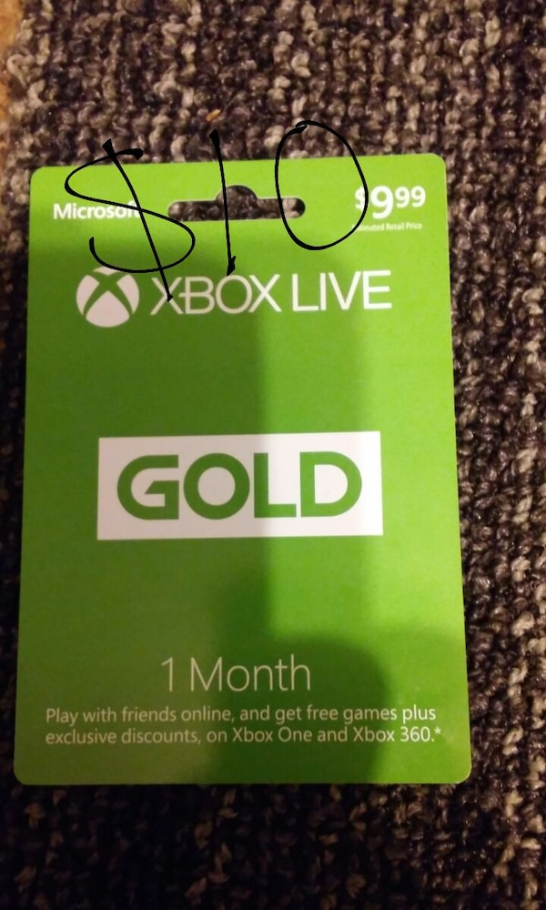 999 dollars xbox live gold 1 month card