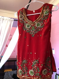 Kids red and gold sleeveless Indian suit  Surrey, V3V 5S8