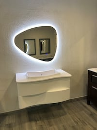 White wood waterproof bathroom cabinets with a mirror. Pinellas Park, 33782