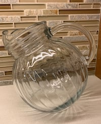 Vintage Clear Glass Ball Pitcher with Ribbed Sides Toronto, M9B 3C5