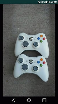 2 White Xbox360 Wireless Controllers