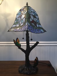 Tiffany style lamp with butterflies
