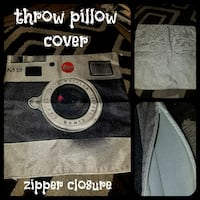 Vintage camera burlap throw pillow cover
