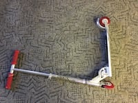 gray and red kick scooter