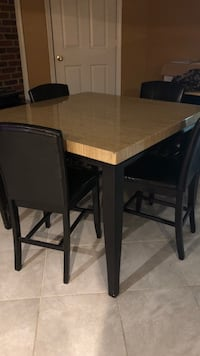 rectangular brown wooden table with four chairs dining set Jeffersonton, 22724