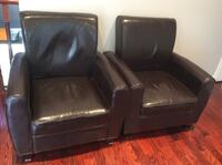 Two black leather sofa chairs Vaughan, L4H 2A4