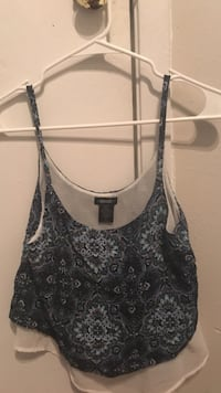 black and gray floral spaghetti-strap crop top